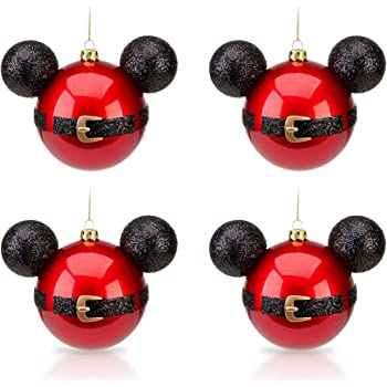 disney park mickey mouse santa belt christmas ornament set of 4 new