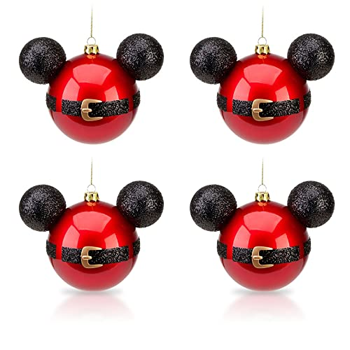 Disney Park Mickey Mouse Santa Belt Christmas Ornament Set of 4 NEW - Mickey Mouse Christmas Ornaments: Amazon.com