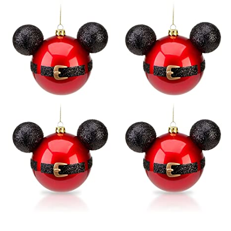 amazoncom disney park mickey mouse santa belt christmas ornament set of 4 new everything else - Mickey Mouse Christmas Decorations