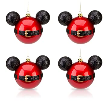 disney park mickey mouse santa belt christmas ornament set of 4 new