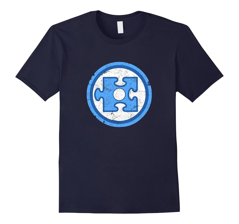 Autism Superhero Light Blue Puzzle Piece Distressed T Shirt-CD