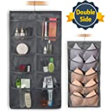 FHSQX Closet & Door Hanging Organizer with Rotating Metal Hanger, Mesh Pockets and Dual Sided Wall Shelf Wardrobe Storage Bags for Bra Sock Shoe Jewelry Gadget, Gray, One Pack