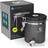 Coffee Gator Stainless Steel Coffee Grounds and Beans Container Canister with Date-Tracker, CO2-Release Valve and Measuring S