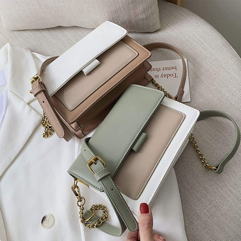 Contrast Color Leather Crossbody Bags For Women 2019 Travel Shoulder Messenger Bag