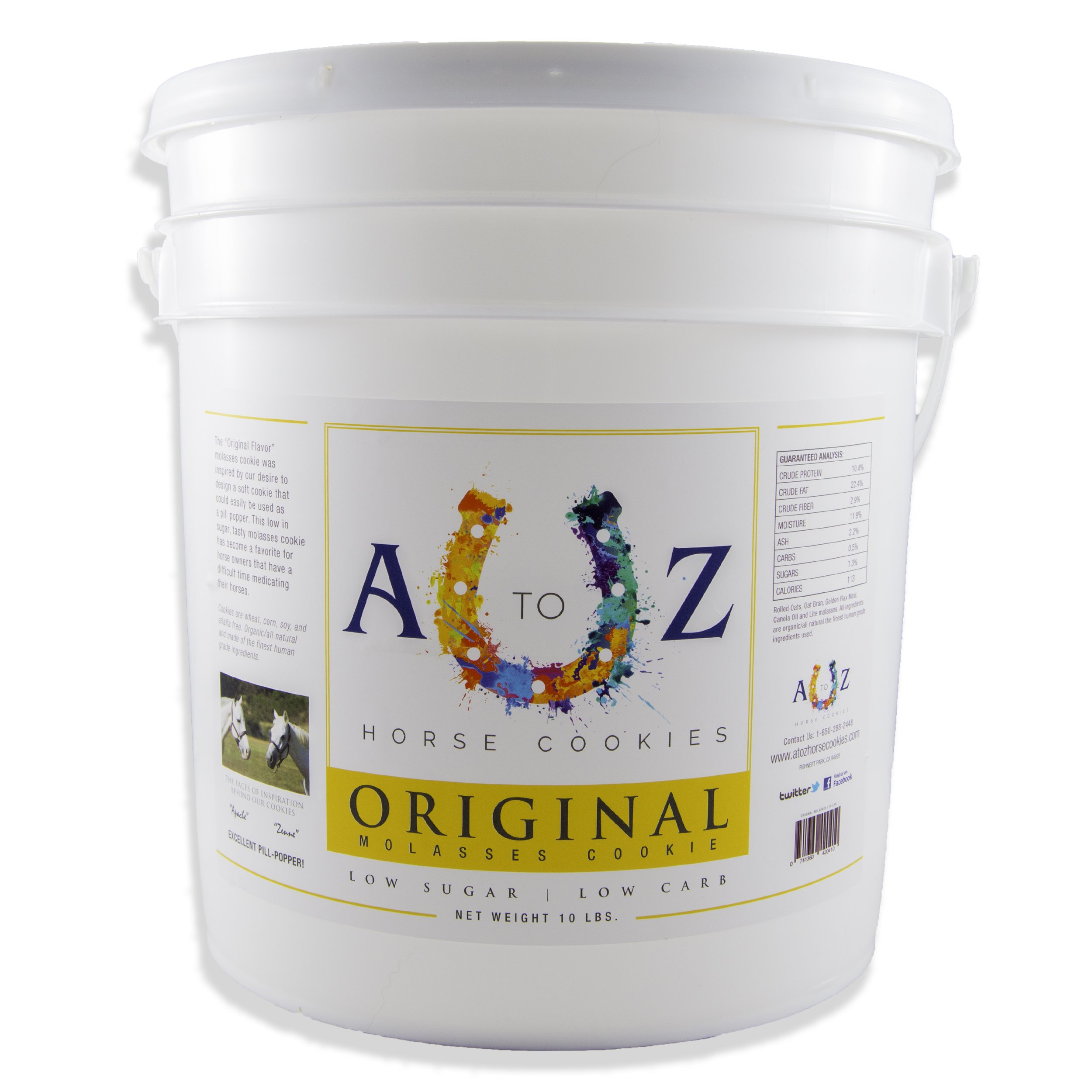 Horse Cookie Treat: Original Flavor by A - Z Horse Cookies, Low Carb Low Sugar Softer Treats, Organic, Great for All Horses and Excellent for Those with Metabolic Conditions, 10 lbs Pail