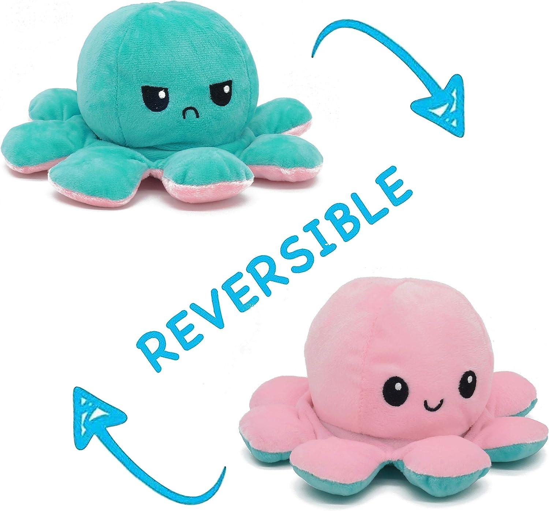 KAPTIUM Pulpo Reversible Prime, Pulpito Reversible, Pulpo Peluche Reversible, Pulpos Reversibles Peluche, Pulpo TIK Tok, Rosa y Azul, Octopus Reversible, Peluche Pulpo Reversible, Grande, Pequeño