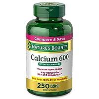 Calcium Carbonate & Vitamin D by Nature's Bounty, Supports Immune Health & Bone Health, 600mg Calcium & 800IU Vitamin D3, 250 Softgels