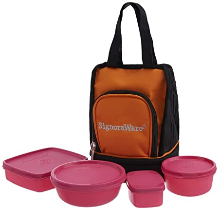 Signoraware Carry Plastic Lunch Box with Bag, Pink Lunch Boxes