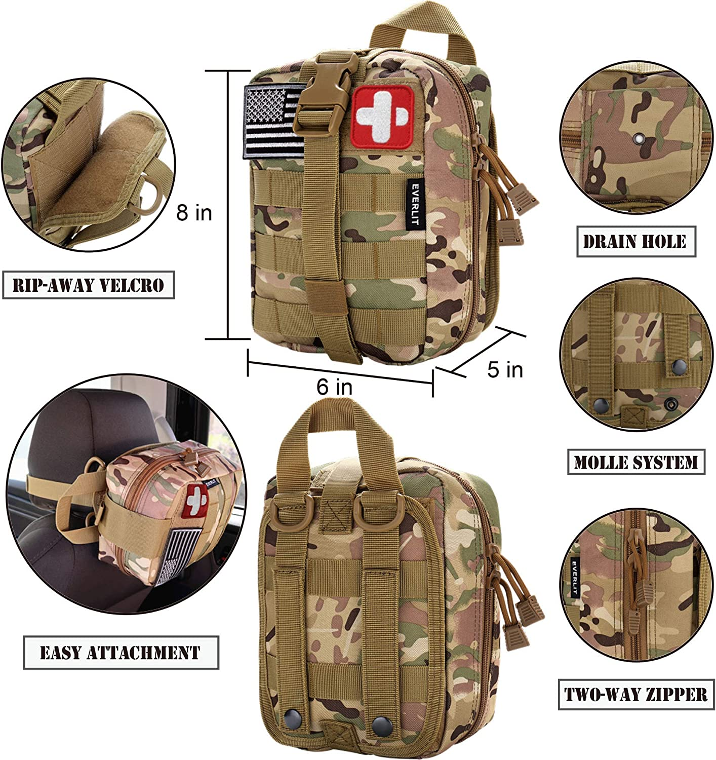 EVERLIT 250 Pieces Survival First Aid Kit IFAK Molle System Compatible Outdoor Gear Emergency Kits Trauma Bag for Camping Boat Hunting Hiking Home Car Earthquake and Adventures (CP Camo) : Sports & Outdoors
