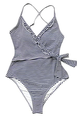 398a28d77d55c CUPSHE Women's Navy White V Neck Striped One Piece Swimsuit at Amazon  Women's Clothing store: