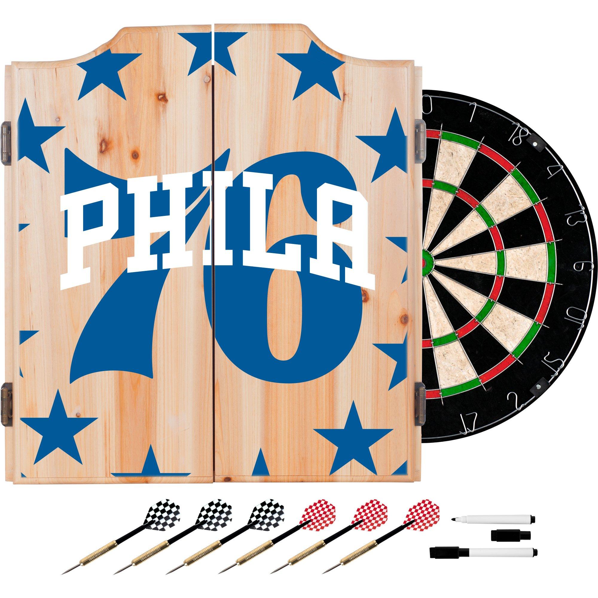 Trademark Gameroom NBA7010-PH2 NBA Dart Cabinet Set with Darts & Board - Fade - Philadelphia 76Ers