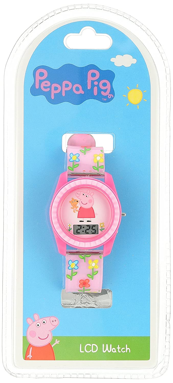 Amazon.com: Peppa Pig Kids Digital Watch with Pink Case, Comfortable Pink Strap, Easy to Buckle - Official Peppa Pig Character on the Dial, ...