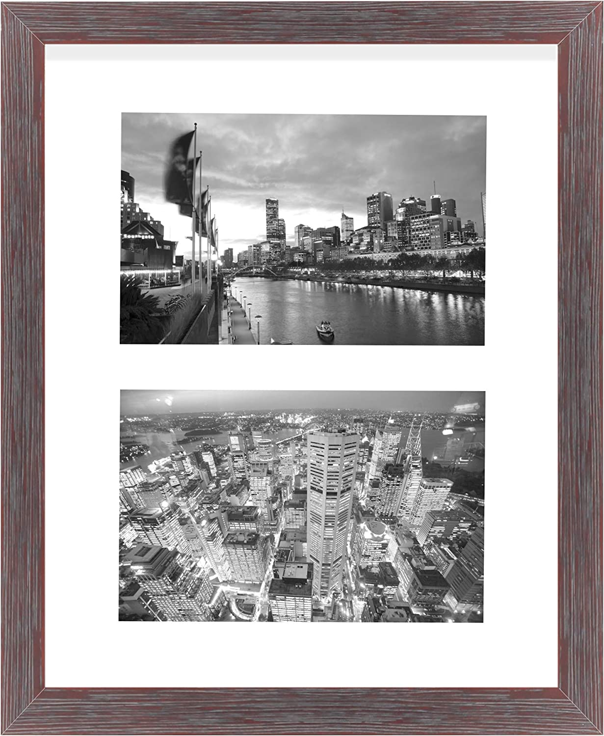 Golden State Art, 8x10 Distressed Red Collage Picture Frame - White Mat for (2) 4x6 Pictures - Wood Molding - Easel Stand for Tabletop - D-Rings for Wall Display - Great for Homes, Offices, Events