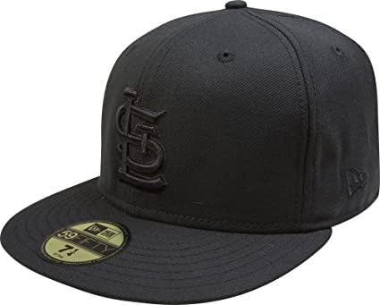 reputable site a9434 c7485 MLB St Louis Cardinals Black on Black 59FIFTY Fitted Cap, 6 7 8