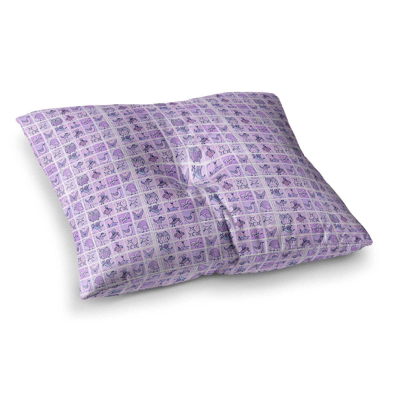 23 x 23 Square Floor Pillow Kess InHouse Marianna Tankelevich Cute Birds Purple Pink Lavender