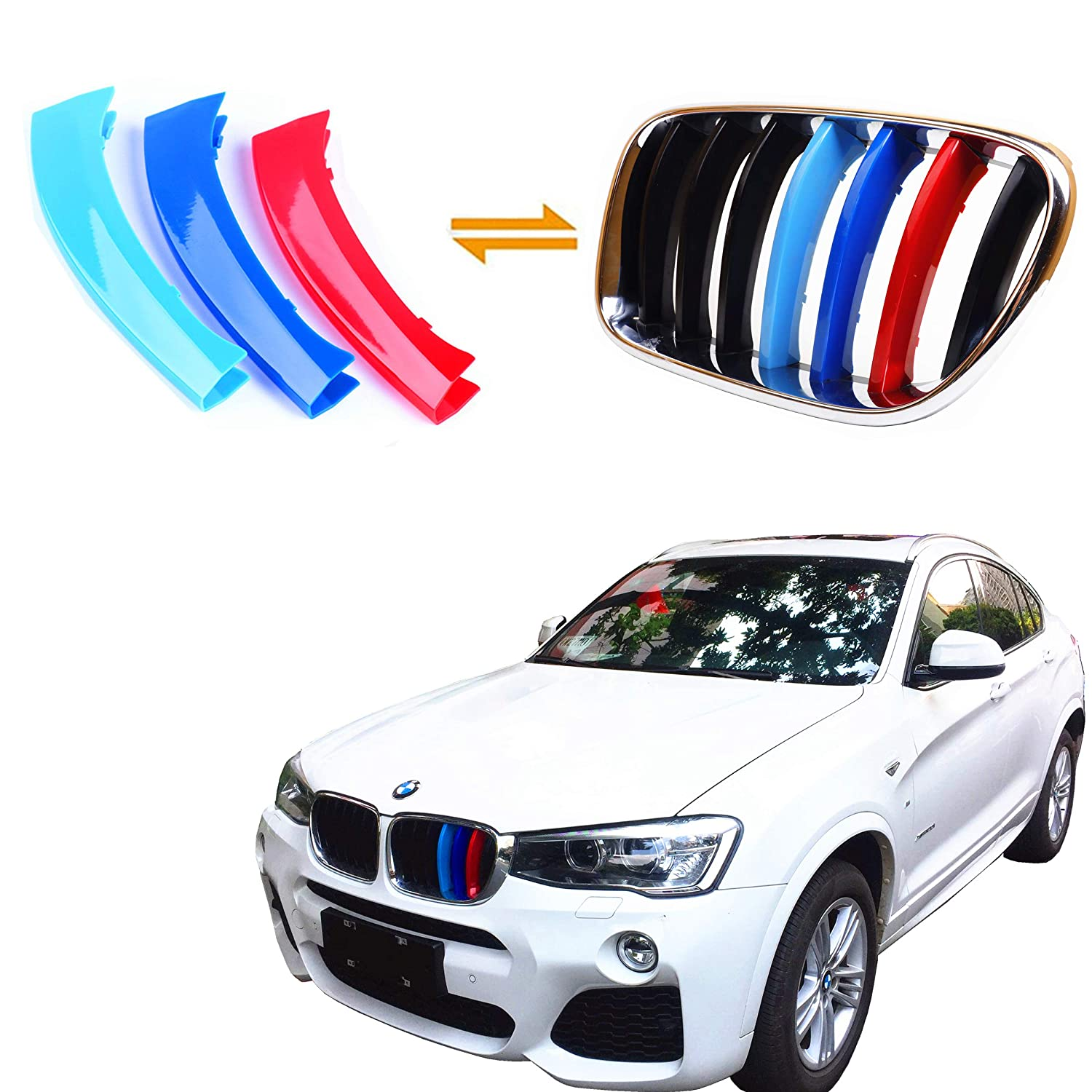 for BMW 2011-2017 X3 /& X4, 7 Beams Jackey Awesome Exact Fit //////M-Colored Grille Insert Trims for BMW 2011-2017 F25 X3 F26 X4 Center Kidney Grill