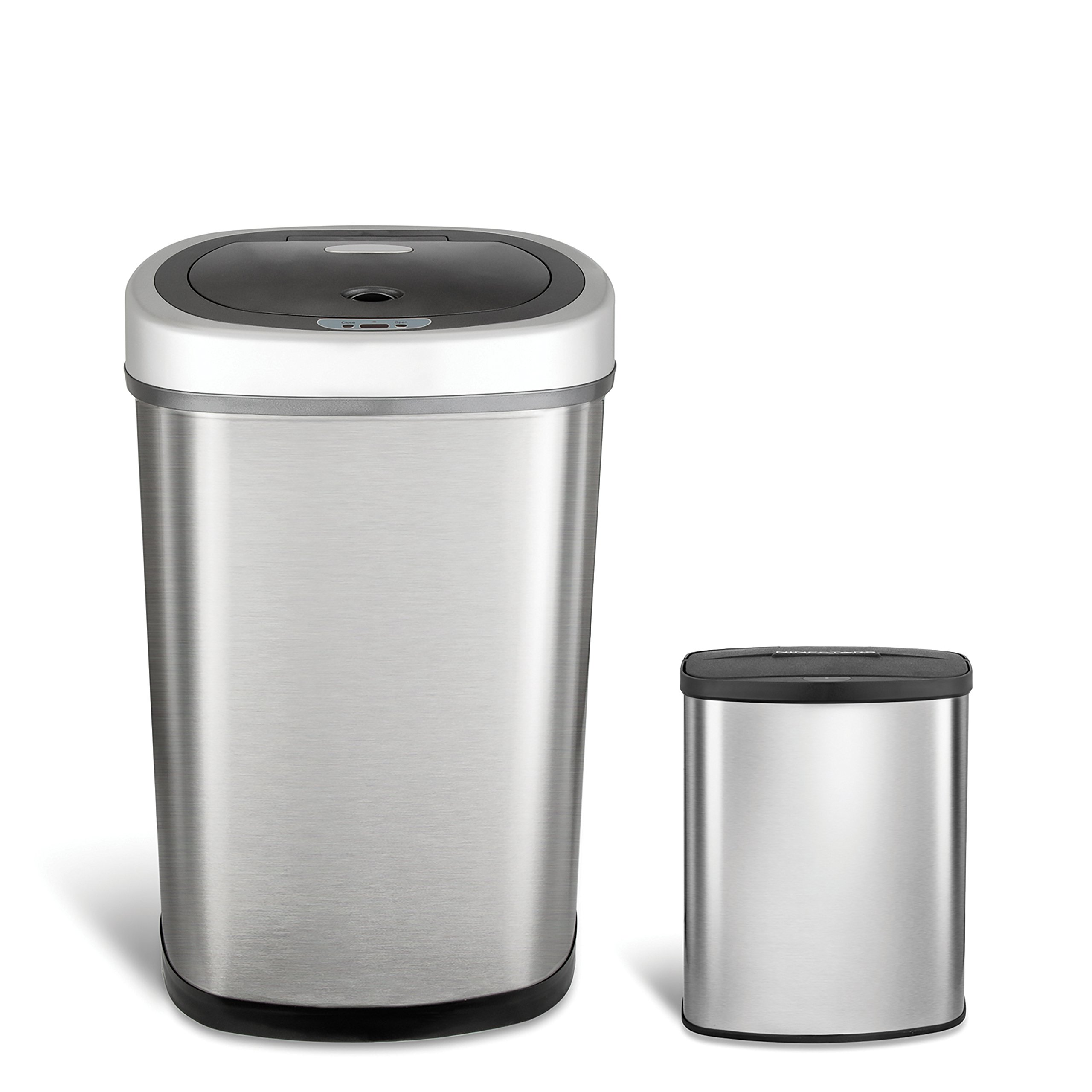 Ninestars CB-DZT-50-98-1C Automatic Touchless Motion Sensor Oval & Rectangular Trash Can Combo Set, 13.2 Gal. 50 L. & 2.1 Gal.8 L, Stainless Steel