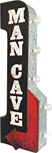 Man Cave Reproduction Vintage Advertising Sign - Battery Powered LED Lights, Double Sided Metal Wall Mounted - 30 x 11 x 4 inches
