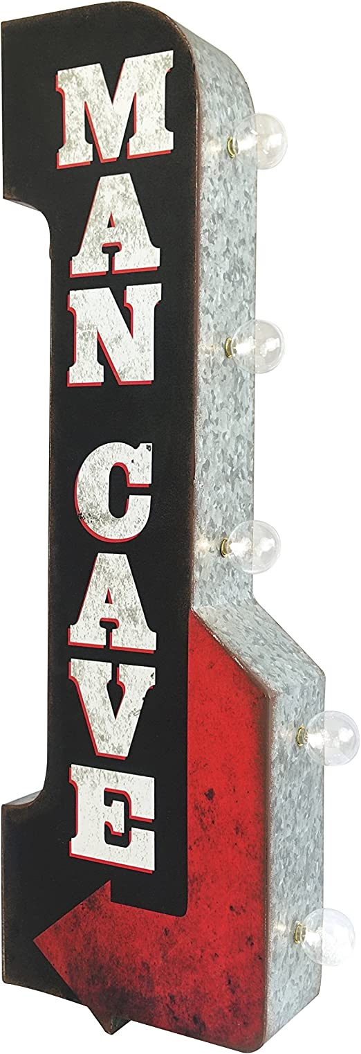 Bar Open Daily Reproduction Vintage Advertising Sign Double Sided Metal Wall Mounted Battery Powered LED Lights 25 x 8 x 4 inches