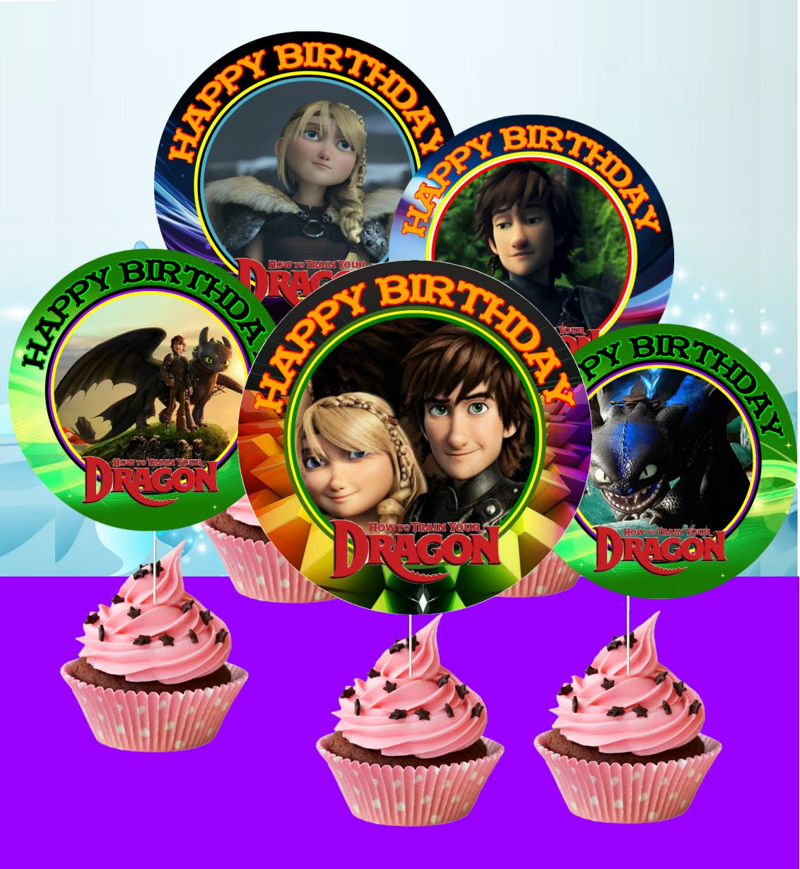 12 HOW TO TRAIN YOU DRAGON Birthday Inspired Party Cupcake Toppers #1 by Crafting Mania LLC.