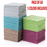 """Simpli-Magic 79148 Cotton Washcloths, Multi Color, 12""""x12"""", 60 Pack, Size 12"""" x 12"""", Taupe/Turquoise/Lime Green/Powder Blue/Raspberry"""