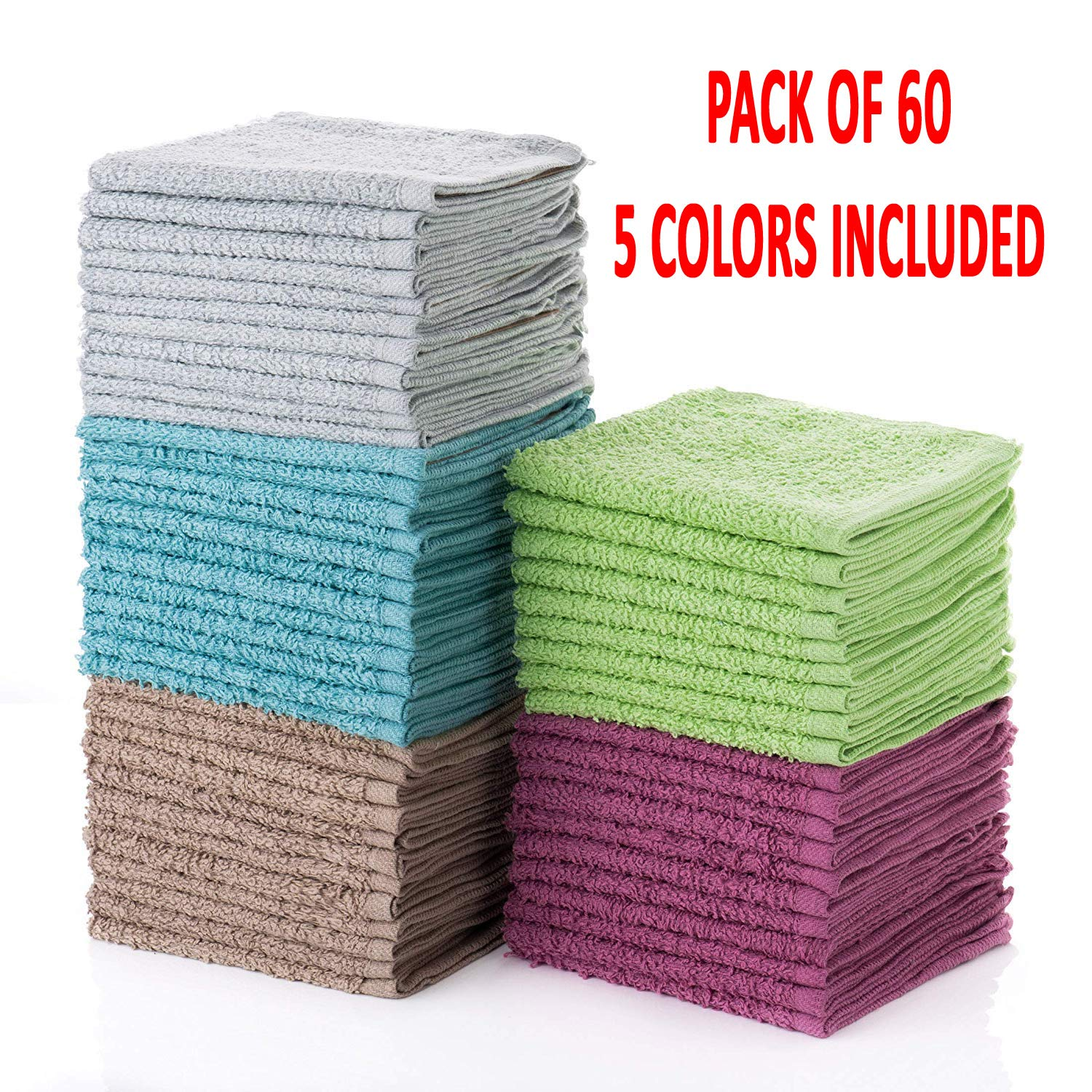 Simpli-Magic 79148 Cotton Washcloths, Multi Color, 12''x12'', 60 Pack, Size 12'' x 12'', Taupe/Turquoise/Lime Green/Powder Blue/Raspberry,