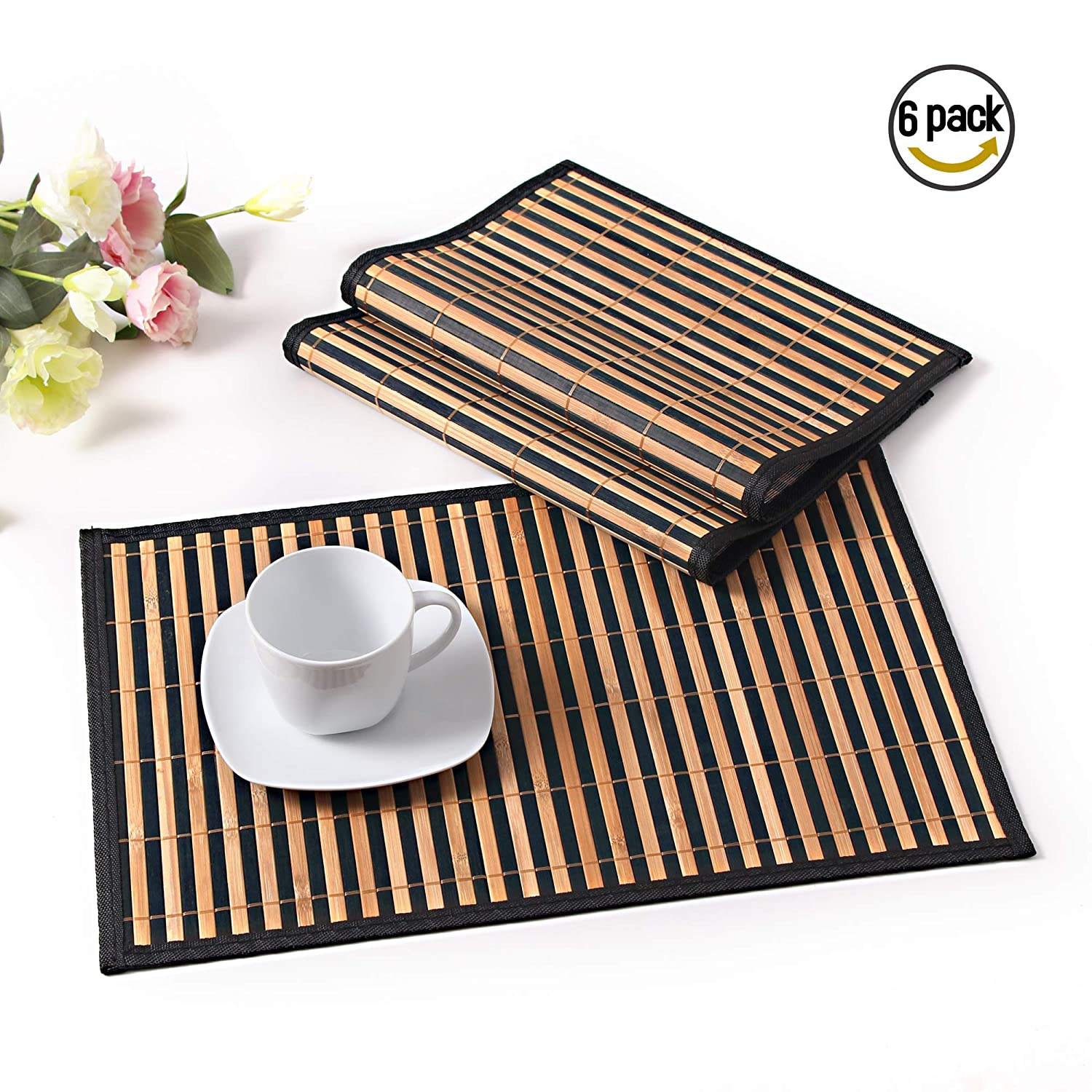 LOVECASA Placemats and Coaster Set Of 6, Bamboo Placemats and Coaster [Non-Slip] Washable Table Mats Set of 6 (46CM X31CM), Green