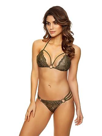 543c8315308 Ann Summers Womens Ladies Mai Lace Bikini Lace Top Summer Swimwear  Beachwear Khaki/Khaki 6