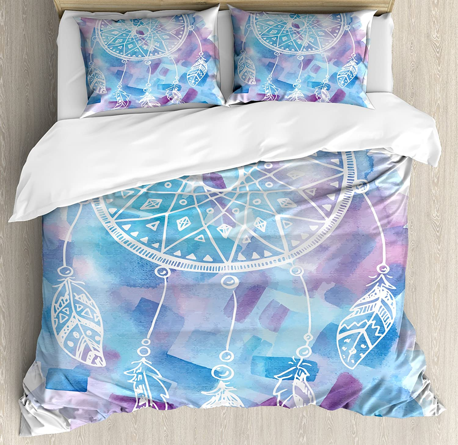 Ambesonne Feather Duvet Cover Set Queen Size, Abstract Dream Catcher with Watercolor Background Artistic Brushstrokes, Decorative 3 Piece Bedding Set with 2 Pillow Shams, Pale Blue Lilac White