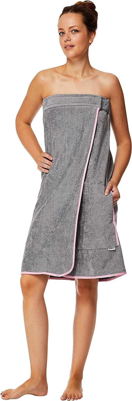 Telo da Sauna in 100/% Cotone Sowel/® Kilt per Sauna da Donna Grigio//Blu 60 x 140 cm Asciugamano da Sauna con Chiusura in Velcro