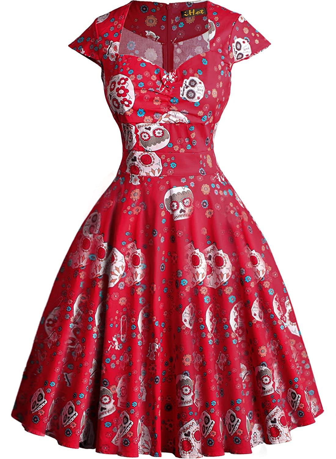 Womens Vintage Dress Skulls Ball Gown Evening Party Halloween