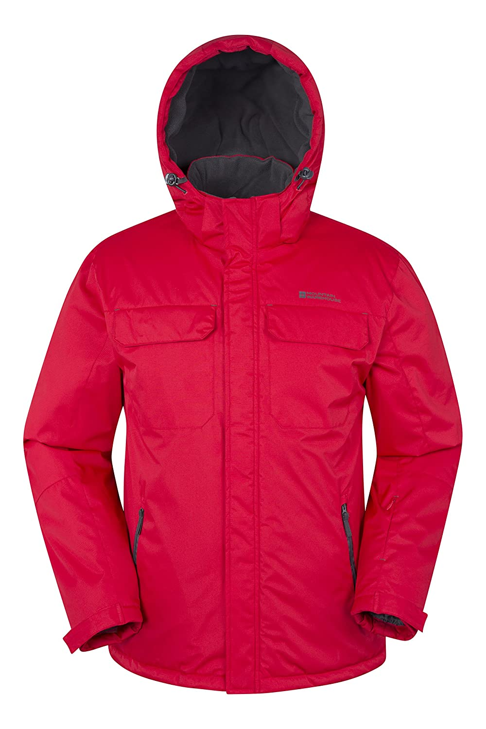 Mountain Warehouse Eclipse Men's Ski Jacket - Snow Proof, Ripstop, Water Repellent, Fleece Lining for Extra Warmth & Comfort with Detachable Hood - Ideal for Beginners