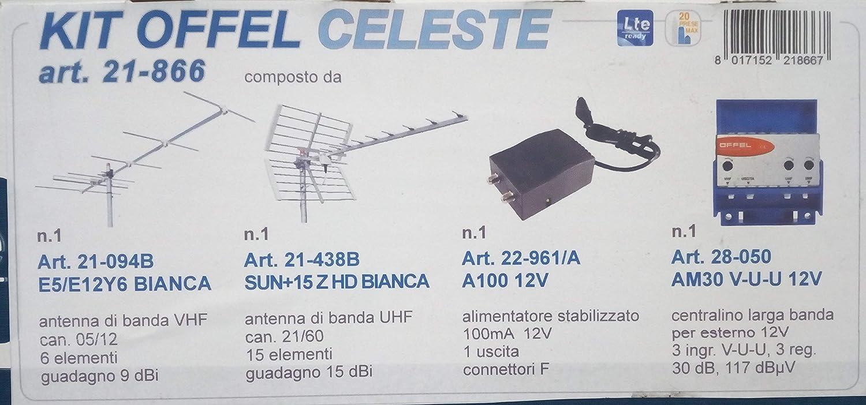 Kit de antena digital terrestre offel DVBT apto para instalaciones con un máximo de 20 tomas de TV.