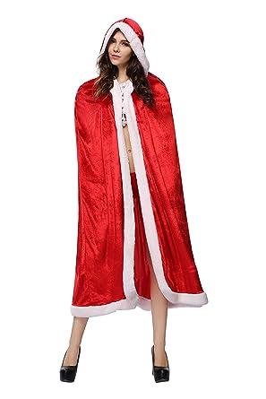 Amazon.com: Mebarra Women's Mrs Santa Claus Hooded Cape Cloak For ...