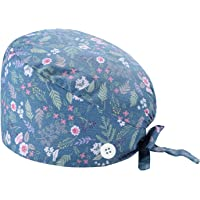 ddfd Gorro Quirófano Gorro de Trabajo Enfermera Sombreros para Hombres y Mujeres con Botón Sombrero de Trabajo Impresión…