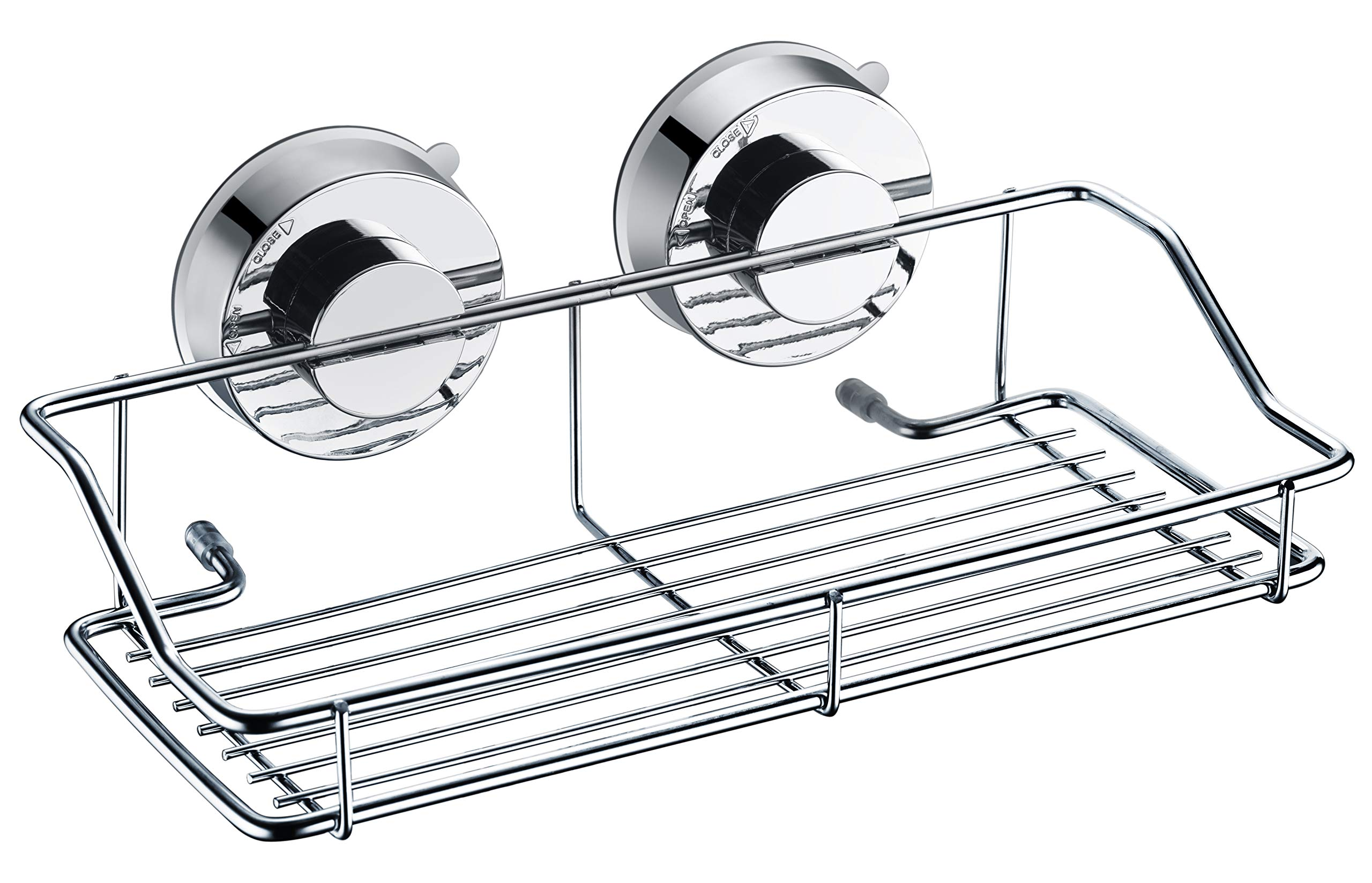 AquaKin Suction Cup Shower Caddy Basket -Stainless Steel Shelf for Shower Storage