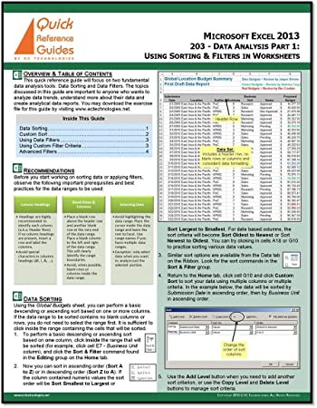 Amazon.com : Microsoft Excel 2013 Quick Reference Guide - Data ...