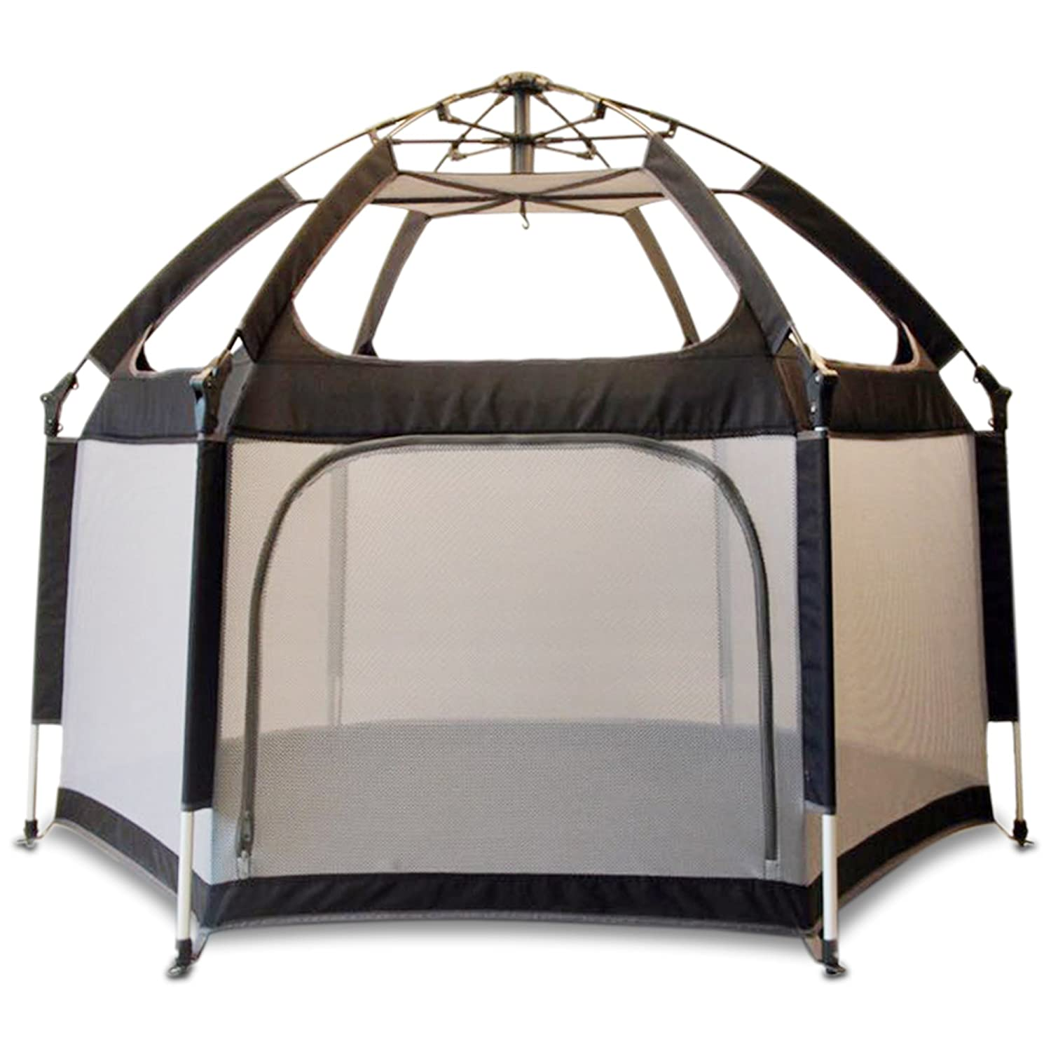 Pop ' n Go – The World 's Best Kids Playpen – 軽量&ポータブル – Insideまたは屋外の使用 – 安全ロックKeep Playpenしっかりと接地and Secure – Free UV Shade with every order 。 グレイ CBC B07DLKX66X Black and Gray