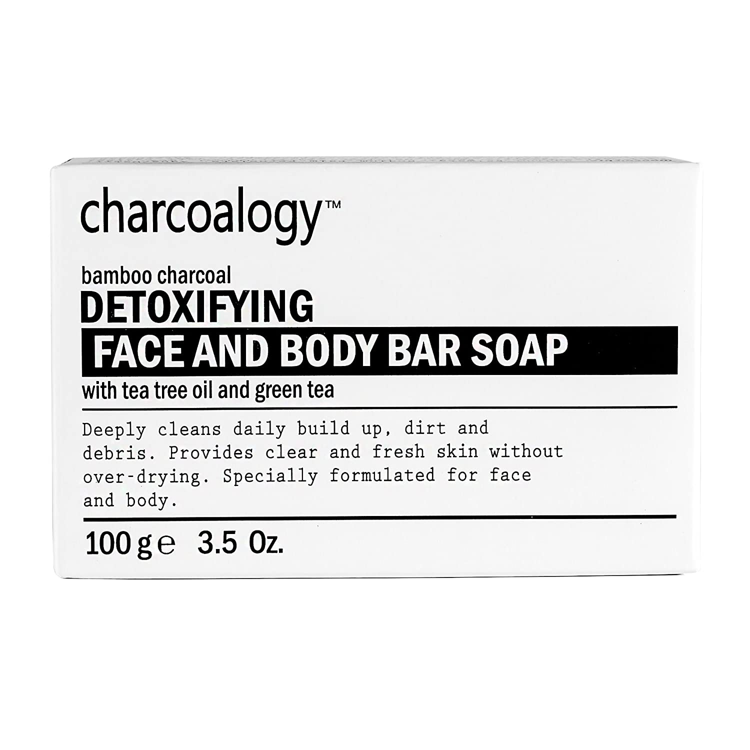 Charcoalogy Bamboo Charcoal Detoxifying Face Body Soap Bar Deep Cleans 100g 3.5oz