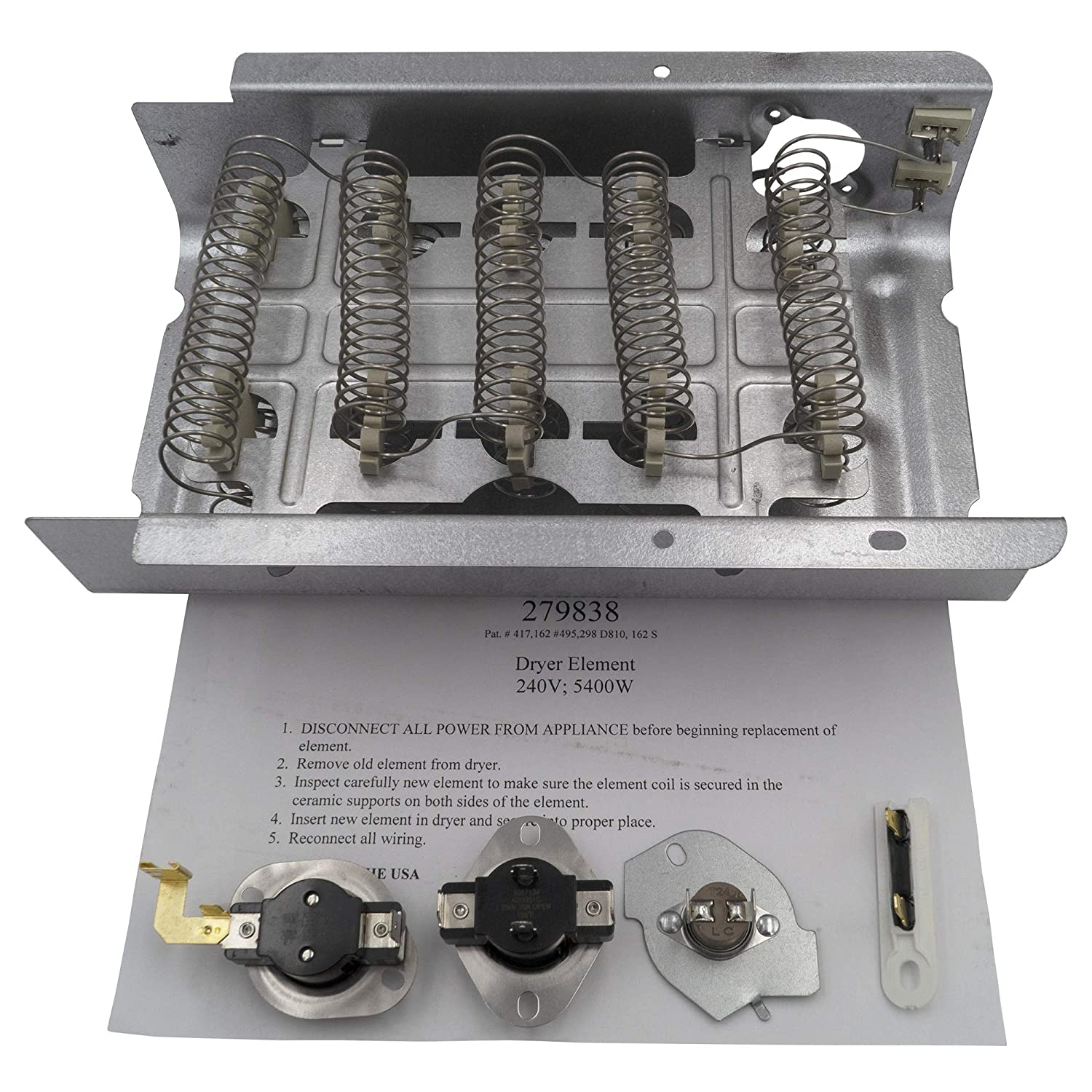 Supplying Demand 279838 Heating Element & Fuse 3392519 3977393 With Dryer Thermostats 3387134 3977767 5 Piece Kit Compatible with Whirlpool