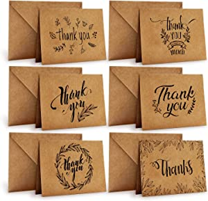 Thank You Cards of Ohuhu, 36 Pack Brown Kraft Paper 6 Design of Assorted Thank U Greeting Note Card with Envelopes and Stickers for Father's Day, Business, Wedding, Baby Shower, Blank Inside, 4 x 6