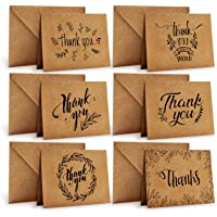 Ohuhu Thank You Cards Of, 36 Pack Brown Kraft Paper 6 Design Of Assorted Thank U Greeting Note Card With Envelopes And…
