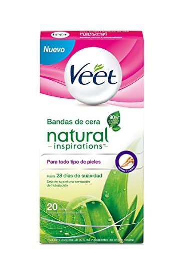 VEET NATURAL BANDA CERAS DEPILATORIA PACK 20U.