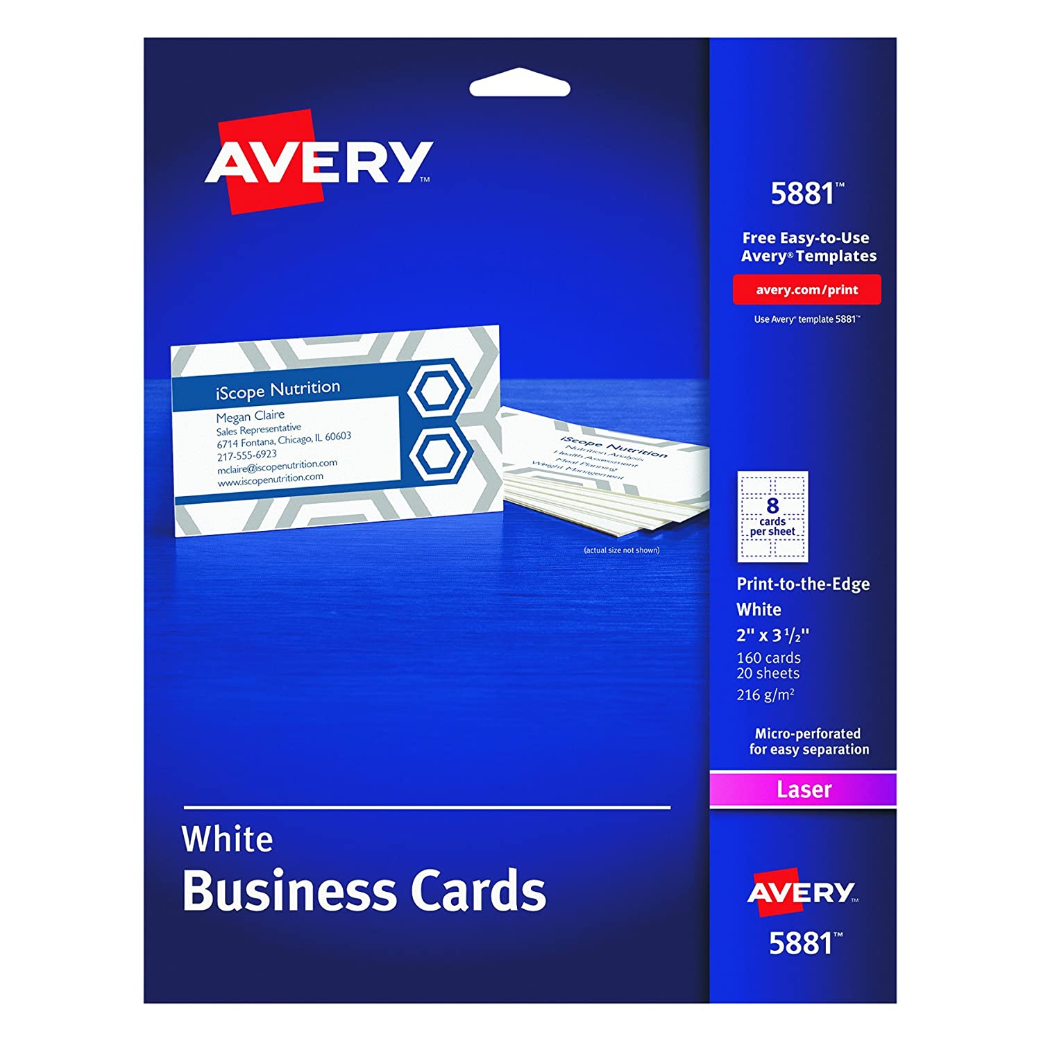 Amazon avery color laser perforated white 2 x 3 12 amazon avery color laser perforated white 2 x 3 12 business cards 160 per pack 5881 business card stock office products alramifo Image collections