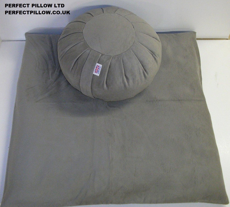set-meditazione Zafu Zabuton + Moleskin superbo tessuto grigio talpa, buccia di grano saraceno biologico riempito direttamente dal produttore britannico, 'Wow. Meraviglioso e Zafu Zabuton '(Artisangirl, marzo 2014) Perfect Pillow Ltd