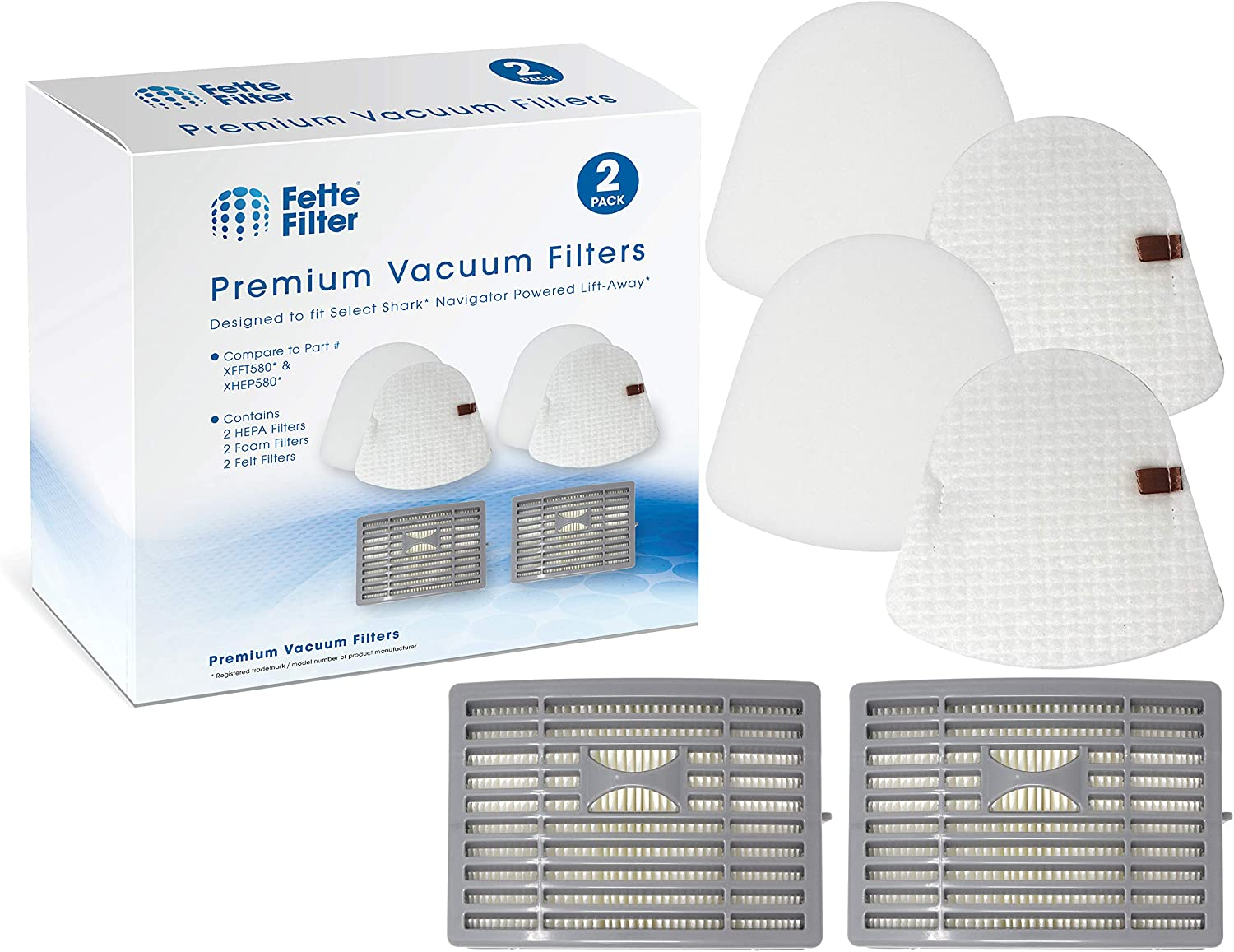 Fette Filter – Vacuum Filter Kit Compatible with Shark NavigatorPowered Lift-Away, 2 HEPA and 2 Foam & 2 Felt Filter Sets for NV581, NV581Q. Compare to Part # XFFT580, XHEP580.
