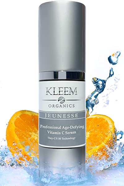 Kleem Organics Vitamin C Serum 20 with Hyaluronic Acid and Vitamin E Oil, that Helps Fade Age Spots, Clear Adult Acne and Get Rid of Wrinkles for a Brighter, Smoother and Younger Looking Skin, 1 fl Oz