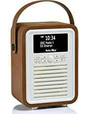 VQ Retro Mini DAB+ Digital Radio with FM, Bluetooth & Alarm Clock, Brown, (VQ-Mini-BR/AUS)
