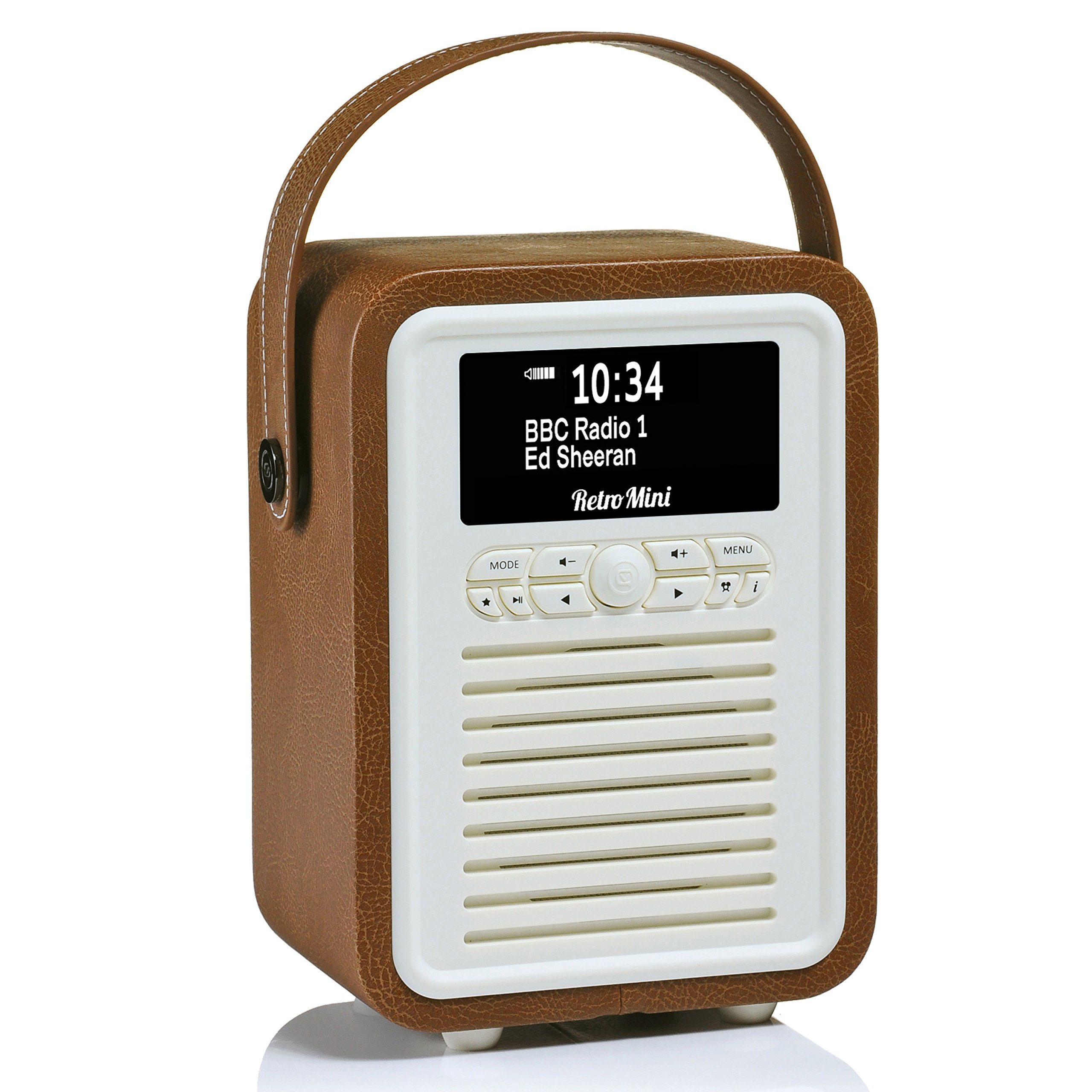 Retro Mini by VQ | Radio & Bluetooth Speaker with AM/FM & HD Radio, Dual Alarm Clock Mains or Battery – Premium PU Leather Case Brown