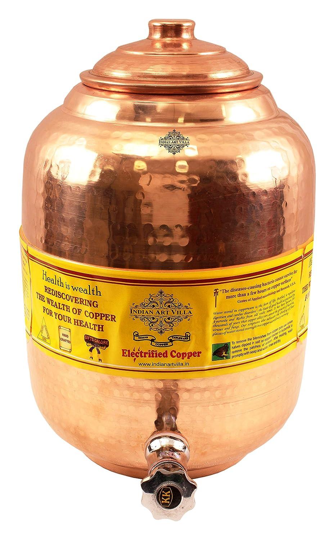 Indian Art Villa Handmade Pure Copper Water Dispenser, Storage Pot Tank   219 ounce  for Kitchen, Home usage